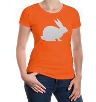Damen Kurzarm Girlie T-Shirt Kaninchen-Tier-Silhouette rabbit Hase bunny