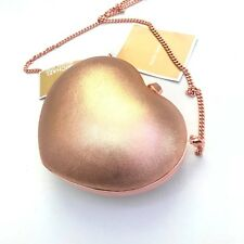 Michael Kors PEARL Metallic Soft Pink Leather Small Heart Box Clutch Chain Bag