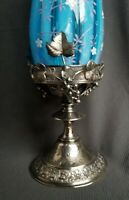 STUNNING ART GLASS vase in figural antique silverplate frame stand. OPALESCENT !
