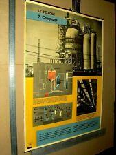 Affiche Ancienne Pétrole ESSO Oil Huile Craquage   Poster Années 50 / 60