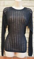 NEXT BLACK KNIT KNITTED LONG SLEEVE SEE THROUGH JUMPER TOP BLOUSE TUNIC 8 S
