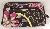 Vera Bradley Purple Punch Floral Cotton Zip-Around Wallet Card Holder Organizer