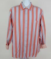 Johnston & Murphy Mens Tailored Fit Multicolor Striped Long Sleeve Shirt XL