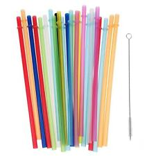 25x Reusable Colorful Hard Plastic Straws + 1x Brush Kids Party Decoration