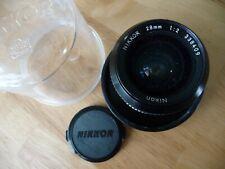 Nikkor 28mm F/2 Lens For Nikon. Manual Focus. Caps Shade Filter Original Cover
