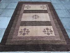 Hand Made Afghan Contemporary Gabbeh Wool Cream Brown Modern Rug 268x190cm
