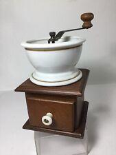 Vintage 1982 TELEFLORA COFFEE MILL GRINDER Wood w/ Porcelain Cup Hopper & Knob
