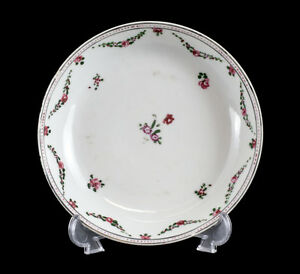 Chinese Export Porcelain Saucer c1810 Hand Painted Raised Enamel Floral