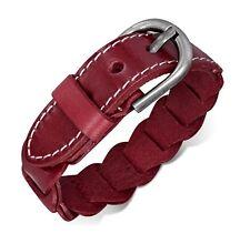 Unisex Dark Red Leather Linked Trendy Adjustable Fashion Bracelet Wristband