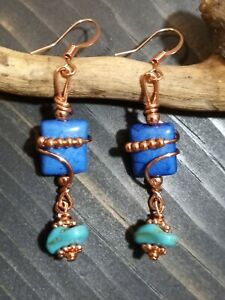 UNIQUE PRETTY BLUE HOWLITE BEAD/TURQUOISE DANGLE/COPPER BEADS WIRE WRAP EARRINGS