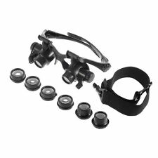 US Double Eye Jewelry Watch Repair Magnifier Loupe Glasses With LED Light 8Lens
