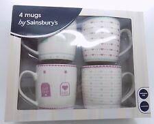 4 mugs by Sainsburys tea tags English breakfast earl grey hearts pink blue NIB