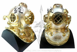 Antique Heavy Model Mark V Solid Brass Finish Diving Divers Helmet With Base NEW