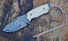 Full Tang Damascus Fixed Blade Hunting Knife with Buffalo Bone Handle & Sheath