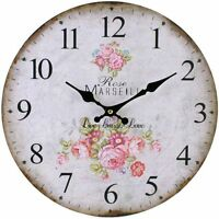 Vintage Shabby Chic Large Style Wall Clock Rose Marseill Live Love Clock Cream
