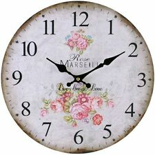 VINTAGE SHABBY CHIC GRAND STYLE Horloge Murale Rose Marseill Live Love Crème