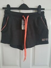 MPH CASUALS Womens Neon Trim Shorts Charcoal Pockets Sport Casual Logo Size S...