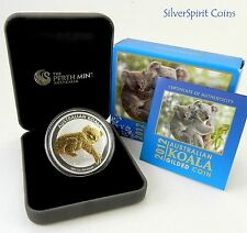 2012 $1 KOALA GILDED SILVER Coin with Gold Overlay