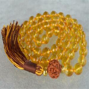 Fashion Yellow Quartz 108 Beads Handmade Tassel Necklace Wristband Buddhism