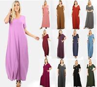 S M L XL Women's Long Maxi T-Shirt Dress Loose Pockets Short Sleeve V-Neck Solid