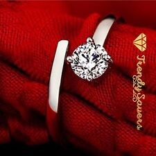Women 925 Sterling Silver Crystal Opening Adjustable Wedding Engagement Rings