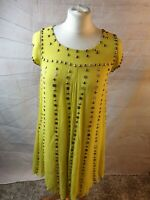 French Connection Yellow Silk Beaded Scoop Neck Short Sleeve A-Line Dress Size 8