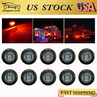 "10x 3/4"" Smoked Red LED Side Marker Lights for Trailer Truck Off-road Auto RV"