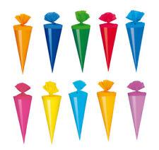 30 Deko Schultüten / Länge: 12cm / 10 verschiedene Farben