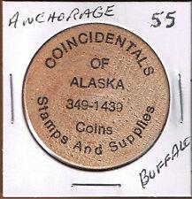 Alaska Wooden Token - ANCHORAGE - Coincidentals - Buffalo 1980's