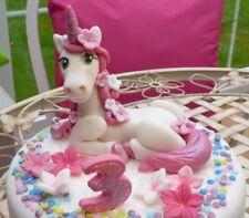 Unicorn Anniversaire Baptême Âge Fleurs Comestibles Handmade cake topper