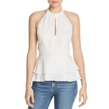 Parker Womens Ivory Tiered Peplum Halter Camisole Top XS BHFO 3760