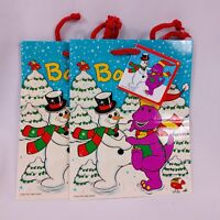 Vintage Unique Barney Christmas Gift Bags Lot of 2 Lyons Group 90s