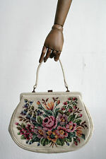 Gobelin Hand Tasche Blumenmotive weiß Messing 60er TRUE VINTAGE 60´s Damentasche