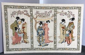 LG. Vintage Japanese Embroidered Needlepoint Geisha's Asian