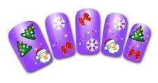Nail art stickers bijoux d'ongles: Pères Noël flocons sapins décorations hiver