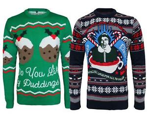 Men Knitted Novelty Christmas Cheers X Mass Puddings Jumper Top Sweater Pullover