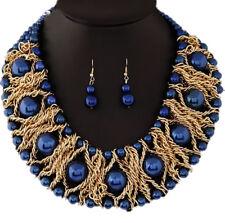 Nataliya Blue African Bead Collar and Earrings Set