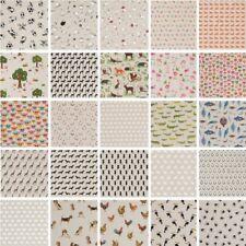 Cotton Rich Linen Look Fabric Dogs Cat Birds Fox Fish Animals Curtain Upholstery