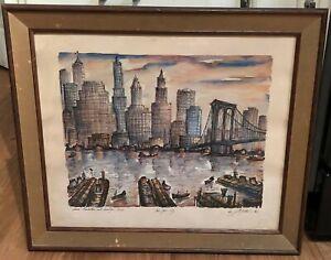 MID CENTURY PRINT NEW YORK CITY SKYLINE BROOKLYN BRIDGE J.M. GALLAIS 1964
