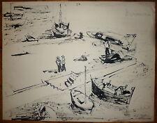 Thialier Raymond Encre sur papier Signée 1965 Port pêche marin bateaux