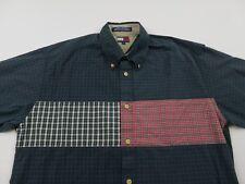 Vintage TOMMY HILFIGER Mens Plaid Shirt Sz L Patchwork Long Sleeve Button Front