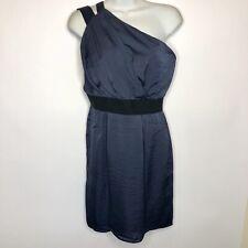 BCBG Stormy Sky Navy One Shoulder Dress With Black Elastic Straps Size 6