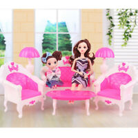 6 Barbie Doll House Furniture Lot Living Room Pink Sofa Chair Gift For Children