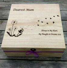 Personalised Mothers Day Engraved Wooden Large In Memory Memorial Box for Mum