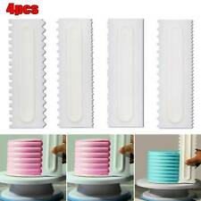 4Pcs Cake Decorating Icing Plain Edge Plastic Side Buttercream Scraper~