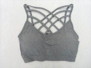 Women Triple Criss Cross Caged Strappy Sports Bra Crop Top Bralette with Pad