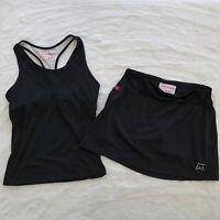 Skirt Sports 2 Piece Set Sz S Running Tank Top Shorts Black Workout Sexy Jogging