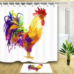Watercolor Rooster Shower Curtain Bathroom Decor Fabric & 12hooks 71*71inches