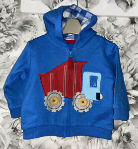 Boys Age 3-6 Months - M&S Zip Up Hooded Top - Immaculate Condition