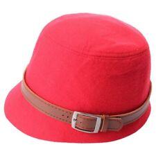 Women Vintage Hairy Felt Hat Winter Wide Brim Bucket Cap Red C3z1